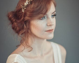Gold leaf tiara - Laurel leaf flower crown - Grecian wreath - Bridal leaf crown - Bridal headpiece - Greek goddess hair accessory