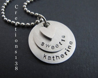 """16th Birthday Gift, Personalized Name """"sweet 16"""" Necklace - Sweet 16 Gift - 16th Birthday Gift- Daughter Gift, Sister Gift, grand-daughter"""