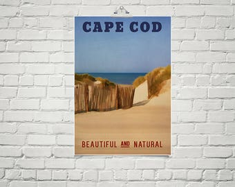 Beach Art Large 18x24 Art Poster Cape Cod Massachusetts Nautical Art Decor for Beach House Vintage Style Travel Poster