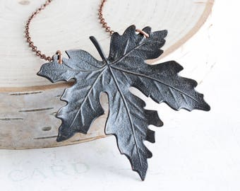 Large Rustic Black Maple Leaf Necklace on Antiqued Copper Plated Chain (55mm)