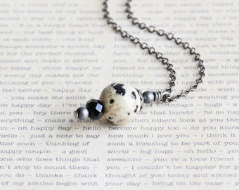 Small Black and White Dalmatian Jasper Gemstone Pendant Necklace on Gunmetal Black Chain