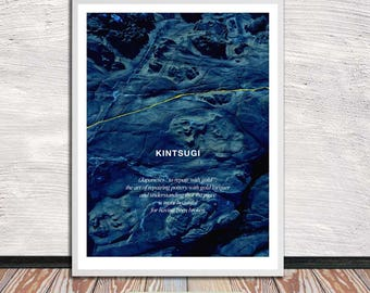Kintsugi, Kintsukuroi, blue rock poster (incl explanation), Japanese aesthetics, Wall Art, Word Art, Printable Art, Instant Digital Download
