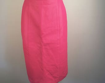Bubblegum Pink Soft Leather Pencil Skirt 80s High Waisted Fitted Lined Midi Skirt Tibor Leathers 10