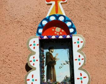 Sweet Funky Folk Art Shrine Nicho Altar Retablo for St. Francis San Francisco