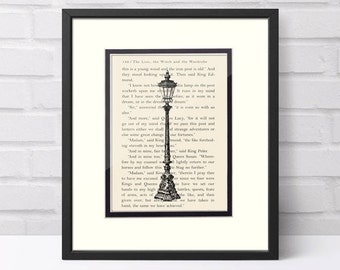 Narnia Lamppost Over Narnia The Lion Witch and The Wardrobe Book Page - Narnia Gift  Graduation Gift
