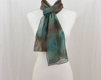 Hand Painted Chiffon Silk Scarf, Teal, Blue, Brown, Hippie, Boho, Festival Clothing, OOAK, Abstract Scarf, Watercolor Scarf, Gift for her