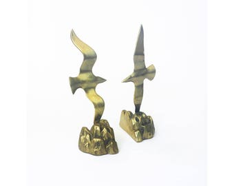 Vintage Brass Seagull Bookends