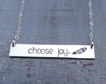 Choose Joy Inspirational Gold Bar Necklace with Feather. Hand Stamped Necklace. 14k Gold Filled, Rose Gold Filled, Sterling Silver.