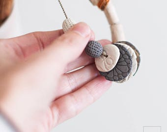 One of a kind Ceramic Necklace. Artisan Wooden necklace. Ceramic Discs. Wood and crochet pendant. Eco Friendly Jewelry. Tribal Jewelry.