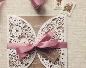Lasercut Wedding Invitations - SAMPLE