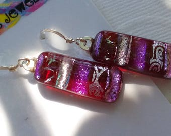 Cranberry, Pink & Silver Dichroic Glass Earrings Luminous Sparkling Earrings Fused Glass Kiln Fired .925 Sterling French Hook Dichromatic