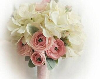 Wedding Bouquet - Hydrangea Bouquet - Lambs Ear Bouquet - Ranunculus Bouquet - Pink Wedding Bouquet - Ivory Wedding Bouquet - Silk Bouquet