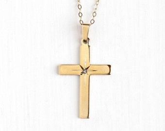 Sale - Vintage 14k Rosy Yellow Gold Filled Diamond Cross Pendant Necklace - Retro Etched Star Crucifix Religious Faith CA Carl Art Jewelry