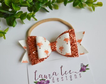 READY TO SHIP, Fox Faux Leather and Yellow Glitter Stacked Bow on Nylon Headband or Clip, Newborn, Fall Bow, Sparkle Bow, Fox Hair Clip