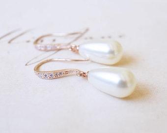 Earrings, Pearl Earrings, Rose Gold Earrings, Dangle Earrings, Drop Earrings, Bridal Jewelry, Bridesmaid Earrings, Bridal Earrings, Gift