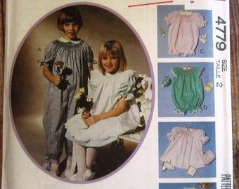 Toddler Girls Dress, Pinafore, Jumpsuit or Rompers with Neckline Bishop Smocking Size 2 McCalls Pattern 4779 UNCUT Vintage 1990s