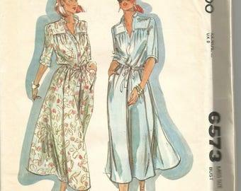 1970s Flared Skirt Blouson Bodice Shirtwaist Cacharel Design McCall's 6573 Uncut FF Size 14 Bust 36 Women's Vintage Sewing Pattern