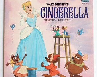 "Walt Disney's ""Cinderella: The Story and Songs"" Vinyl Soundtrack (1969) - Very Good Condition"