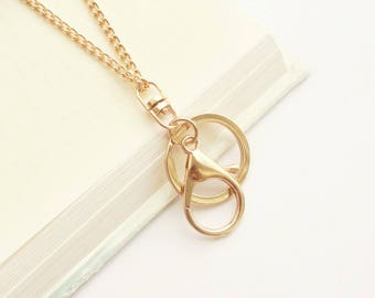 Gold ID Badge Holder, Gold Lanyard, Plain Gold Lanyard, Simple Gold Eyeglass Loop, Gold Chain Lanyard, Gold Name Badge Holder, Gift for Her