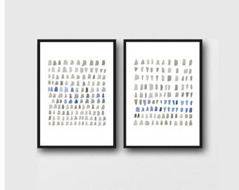 Minimal Watercolor Paintings, Set of two Giclee Prints, Gray blue Painting, Minimal Abstract Art