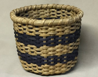 Hand Woven, 8 Sided Basket with Wood Base, Navy Blue Accent Color