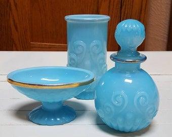 Avon Bristol Blue Set - Soap Dish - Cologne Bottle - Tumbler  - 1975 - Oak Hill Vintage