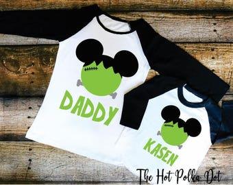 Disney Halloween Shirt, Frankenstein Mickey Mouse Personalized Raglans, Black Raglan Shirts, Mickey's Not So Scary Halloween Party Shirts