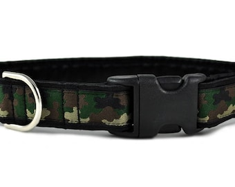 "Ready-to-Ship: Camo Jacquard - 1"" Buckle Collar - LARGE - Nickel Plated Hardware"