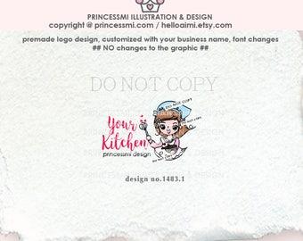 1483-1 Girl Chef logo, Bakery logo, Baker logo design, home kitchen, blogger logo, premed chef logo business logo cake shop logo
