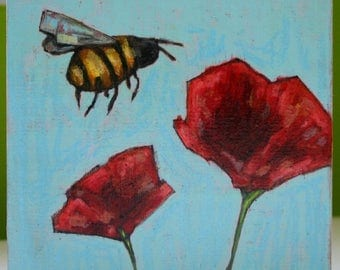 honey bee and poppies flowers original a2n2koon mixed media painting on reclaimed wood bee wall art on wood flying bee red poppies blue sky