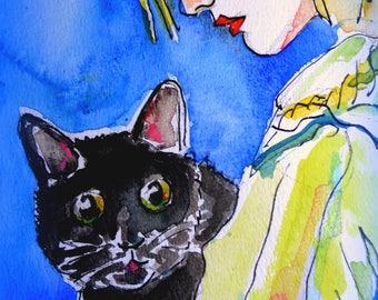 Original watercolor. 20-25 cm. Girl with cat.