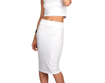 White Leather-Look Pencil Skirt