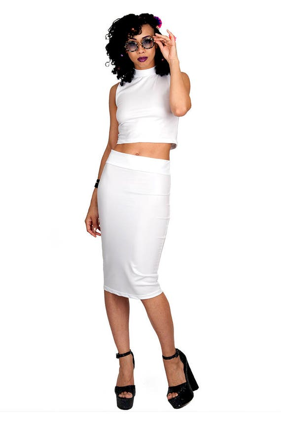 white leather look pencil skirt