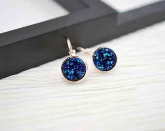 Blue Rose Gold Earrings, Blue Earrings, Rose Gold Jewelry, Blue Druzy Earrings, Druzy Earrings, Faux Druzy Earrings, Faux Druzy, Rose Gold