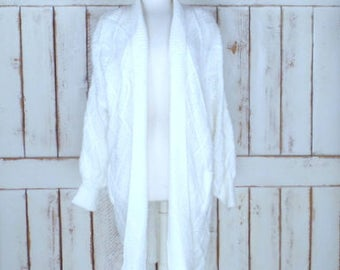 Vintage ivory chunky woven knit oversize cardigan sweater coat/long chunky off white sweater/ivory cardigan