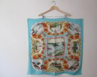 Vintage '50s Niagara Falls Silk Souvenir Scarf