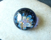 Blue Jelly - Lampwork Cabochon - Boro Glass Implosion - Neon Rainbow Design - 16mm - SRA