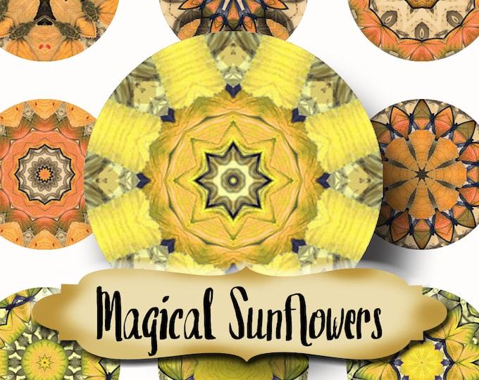 MAGICAL SUNFLOWERS•Chakra Mandalas•1x1 Circle•Printable Digital Image•Healing Mandalas•Magnets•Gift Tags•Yoga