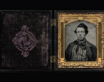 Striking 1850s Portrait of a Handsome Man Wearing Big Tie in Full Union Hard Case