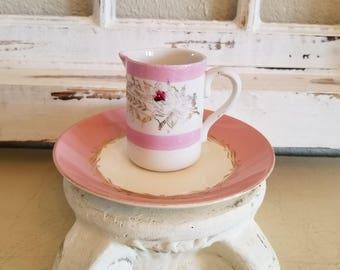 old vintage PINK Shabby pitcher cup saucer set Roses floral