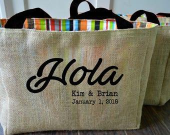 5+ Welcome Hola Amigos ustom Destination Wedding Welcome Burlap Beach Tote Bags - Handmade
