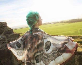 Moth butterfly cape Emperor moth cloak dance wings costume short small fairy