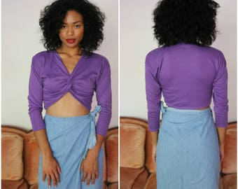 Vintage 90's Purple long Sleeve Crop Top - Size Medium