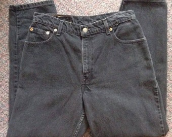 Vintage Levis Women's Mom Black Jeans Size 12 Reg S Relaxed Fit 550 High Waisted