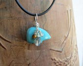 turquoise zuni bear cluster silver pendant. real turquoise pendant. Zodiac jewelry. GUARDIAN. moss agate citrine tiger eye. star sign Gemini