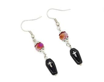 Hand Painted Coffin Earrings with Red Faceted Czech Crystal Beads