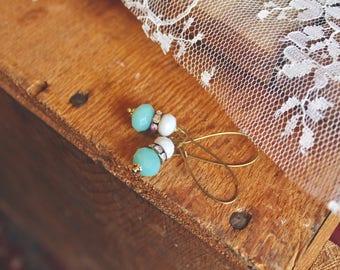 Semi transparent ice blue, rhinestone, and slate grey drop earrings, kidney wire earrings