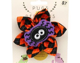 Halloween Dog Bow - Silly Spider on Halloween Argyle - Flower - Collar Blossom - Large Size
