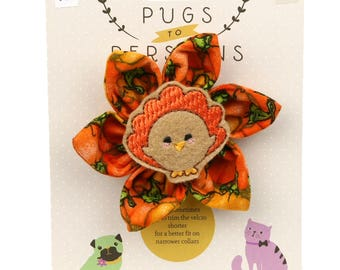 Autumn Dog Bow - Thanksgiving Turkey on Pumpkins - Flower - Collar Blossom - Medium Size