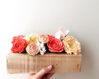 Felt flower box - ready to ship